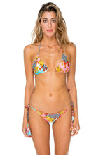 PARTY PRINCESS - Triangle Top & Wavey Ruched Back Brazilian Tie Side Bottom • Multicolor