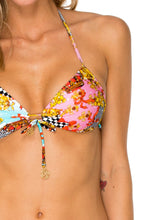 PARTY PRINCESS - Molded Push Up Bandeau Halter Top & Wavey Ruched Back Brazilian Tie Side Bottom • Multicolor