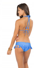 CUBA LIBRE - Criss Cross Braided Triangle Top & Tassels Band Ruched Minimal Coverage Bottom • Sea Angel