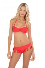 CUBA LIBRE - Criss Cross Bandeau Top With Removable Tassel & Tassels Band Ruched Minimal Coverage Bottom • Luli Red