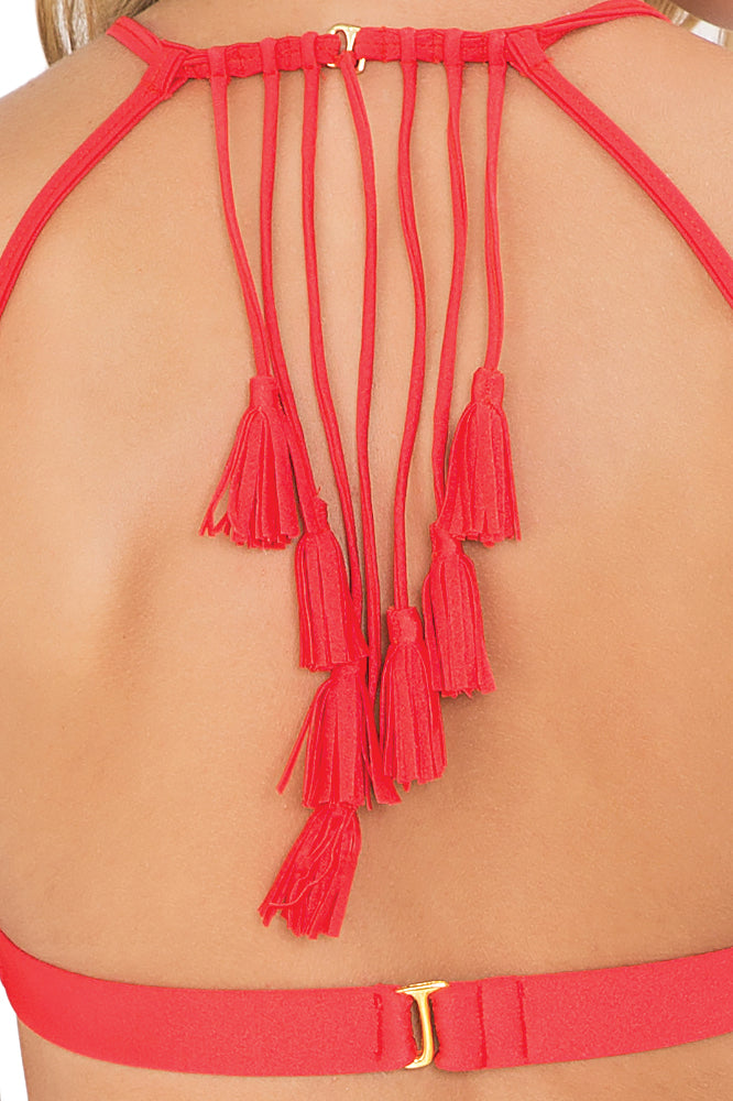 CUBA LIBRE - Tassel Back Bra Top & Criss Cross Sides Full Bottom • Luli Red