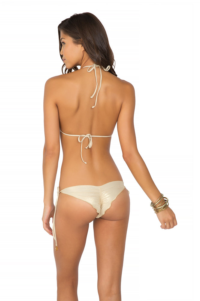MOON OVER MIAMI - Triangle Top & Wavey Ruched Back Brazilian Tie Side Bottom • White
