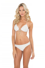 MOON OVER MIAMI - Molded Push Up Bandeau Halter Top & Seamless Full Bottom • White
