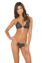 MOON OVER MIAMI - Molded Push Up Bandeau Halter Top & Seamless Tiny Bottom • Black