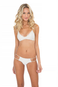 MOON OVER MIAMI - Criss Cross Back Bra Top & Seamless Tiny Bottom • White
