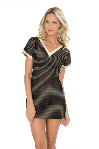 MOON OVER MIAMI - Vneck Bodycon Dress • Black