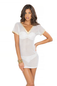 MOON OVER MIAMI - Vneck Bodycon Dress • White