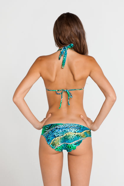 PERLA DEL CARIBE - Molded Cup Tri Halter Top & Full Ruched Back Bottom • Multicolor