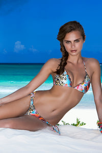 LA ISLA BONITA - Wavey Triangle Top & Wavey Ruched Back Brazilian Tie Side Bottom • Multicolor