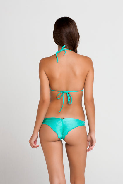 FIESTA DE FLORES - Wavey Triangle Top & Strappy Brazilian Ruched Back Bottom • Hot Mess