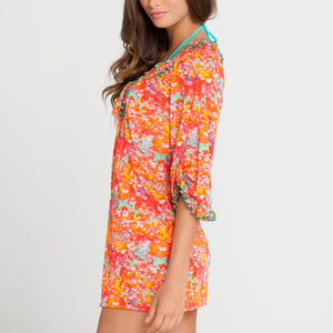 FIESTA DE FLORES - Ruffle V Neck Dress