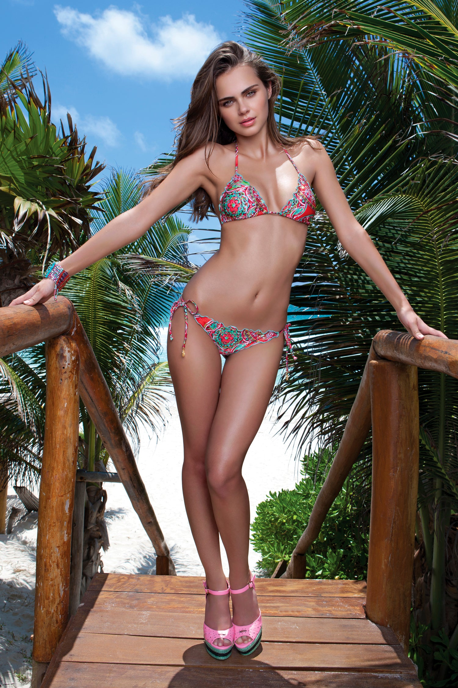 AZULEJOS DEL MAR - Wavey Triangle Top & Wavey Ruched Back Brazilian Tie Side Bottom • Multicolor