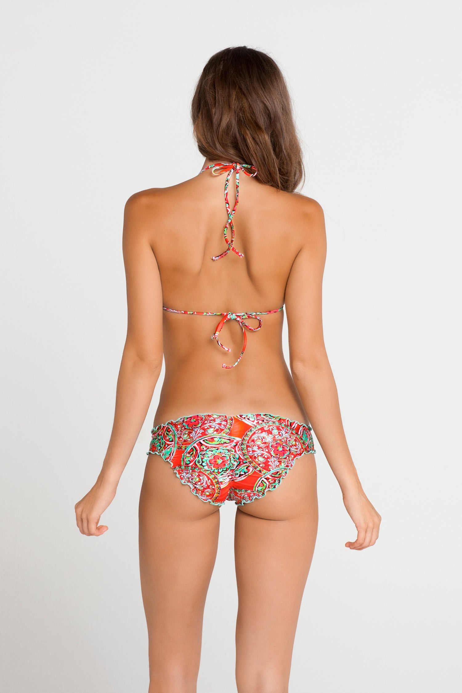 AZULEJOS DEL MAR - Wavey Triangle Top & Full Ruched Back Bottom • Multicolor