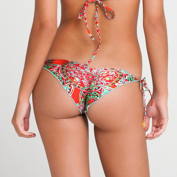 AZULEJOS DEL MAR - Wavey Ruched Back Brazilian Tie Side Bottom