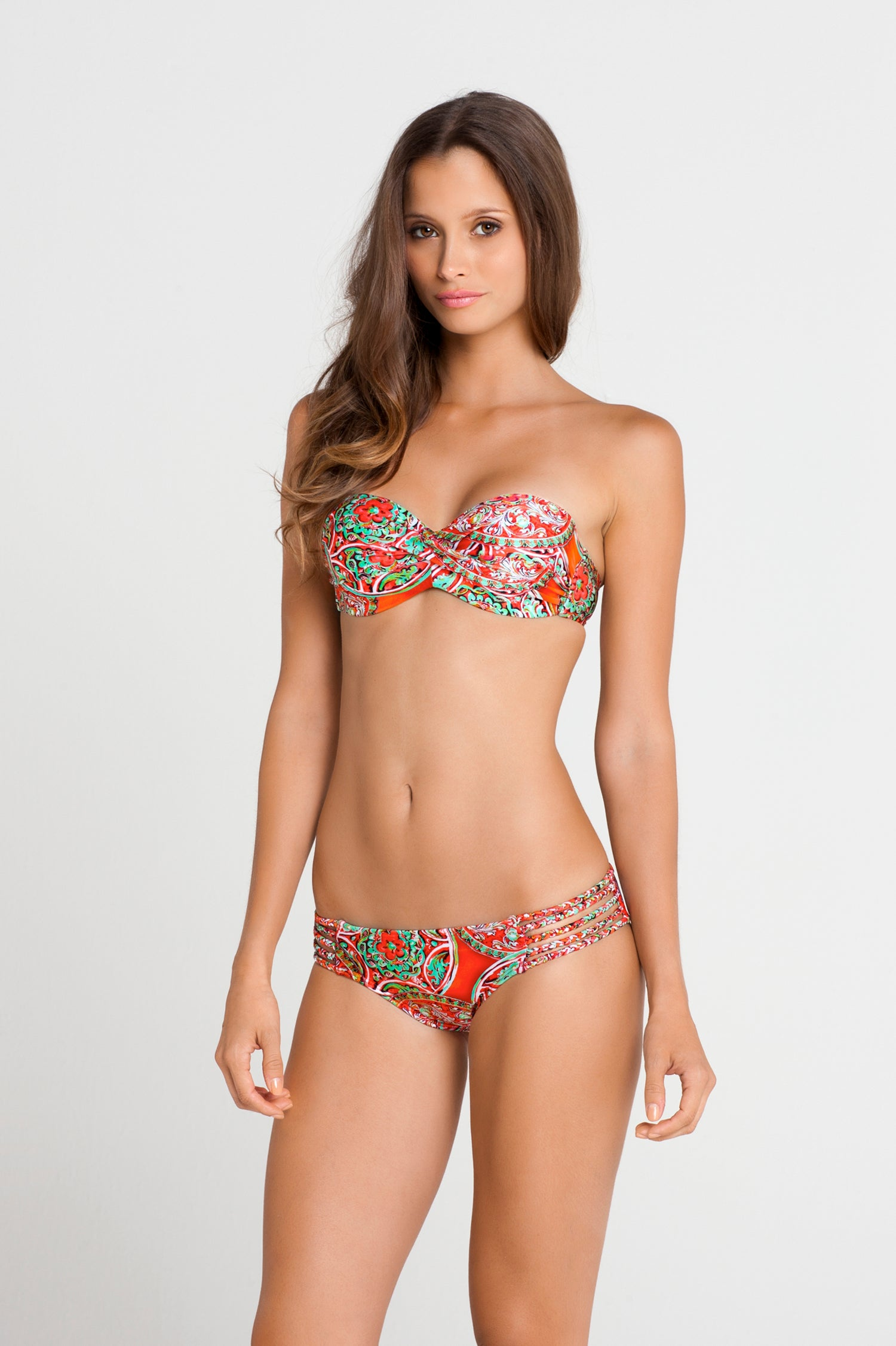 AZULEJOS DEL MAR - Underwire Push Up Bandeau Top & Braided Side Full Bottom • Multicolor