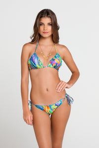 AGUA DE FUEGO - Wavey Triangle Top & Wavey Ruched Back Brazilian Tie Side Bottom • Multicolor
