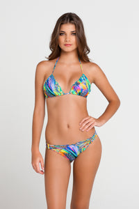 AGUA DE FUEGO - Wavey Triangle Top & Strappy Brazilian Ruched Back Bottom • Multicolor
