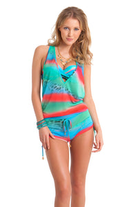 MERMAID GLITTER - T Back Romper • Multicolor