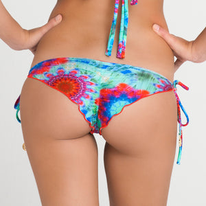 BEACH FEVER - Wavey Ruched Back Brazilian Tie Side Bottom