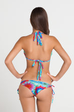 BEACH FEVER - Triangle Halter Top & Wavey Ruched Back Brazilian Tie Side Bottom • Multicolor