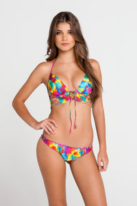 PLAYA CARAMELO - Something Sexy Underwire Corset Top & Drawstring Back Scrunch Bottom • Multicolor