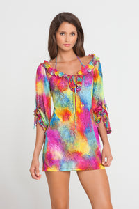 PLAYA CARAMELO - Ruffle V Neck Dress • Multicolor