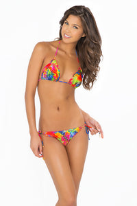 MUNDO DE COLORES - Wavey Triangle Top & Wavey Ruched Back Brazilian Tie Side Bottom • Multicolor