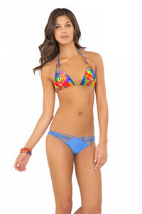MUNDO DE COLORES - Wavey Triangle Top & Strappy Brazilian Ruched Back Bottom • Sea Angel