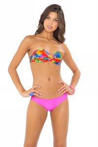 MUNDO DE COLORES - Underwire Push Up Bandeau Top & Wavey Brazilian Ruched Back Bottom • Too Hot Miami