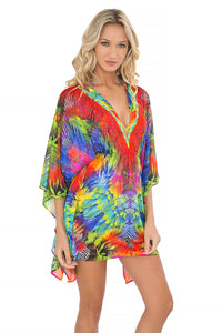 MUNDO DE COLORES - Button Front Short Caftan • Multicolor