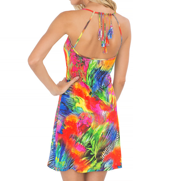 MUNDO DE COLORES - Tassel Back Mini Dress
