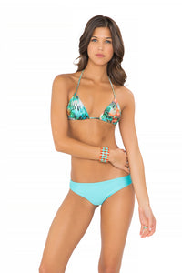 MIAMI NICE - Triangle Top & Seamless Minimal Coverage Bottom • Aruba Blue