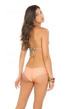 MIAMI NICE - Crochet Cut Out Triangle Top & Wavey Brazilian Ruched Back Bottom • Miami Peach