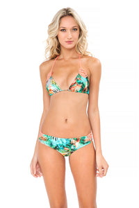 MIAMI NICE - Crochet Cut Out Triangle Top & Crochet Sides Open Moderate Bottom • Multicolor