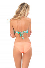MIAMI NICE - Crochet Open Front Bandeau Top & Full Ruched Back Bottom • Miami Peach