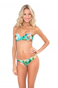 MIAMI NICE - Crochet Open Front Bandeau Top & Sexy Back Crochet Skimpy Bottom • Multicolor