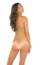 MIAMI NICE - Molded Push Up Bandeau Halter Top & Sexy Back Skimpy Bottom • Miami Peach