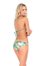 MIAMI NICE - Molded Push Up Bandeau Halter Top & Braided Side Full Bottom • Multicolor