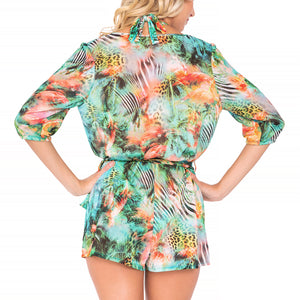 MIAMI NICE - Wrap Front 3/4 Sleeve Romper