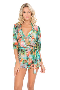 MIAMI NICE - Wrap Front 3/4 Sleeve Romper • Multicolor