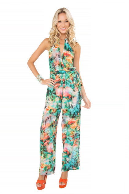 MIAMI NICE - Halter Long Jumpsuit • Multicolor