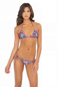 BESOS DE SAL - Wavey Triangle Top & Wavey Ruched Back Brazilian Tie Side Bottom • Multicolor