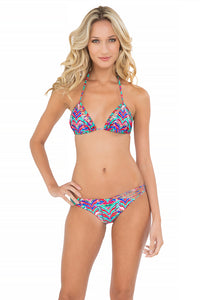 BESOS DE SAL - Strappy Cut Out Triangle Top & Strappy Front Side Moderate Bottom • Multicolor