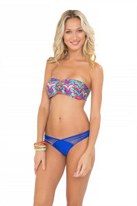 BESOS DE SAL - Strappy V Cut Out Bandeau Top & Strappy Brazilian Ruched Back Bottom • Electric Blue