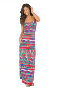 BESOS DE SAL - Strappy V Cut Out Maxi Dress • Multicolor