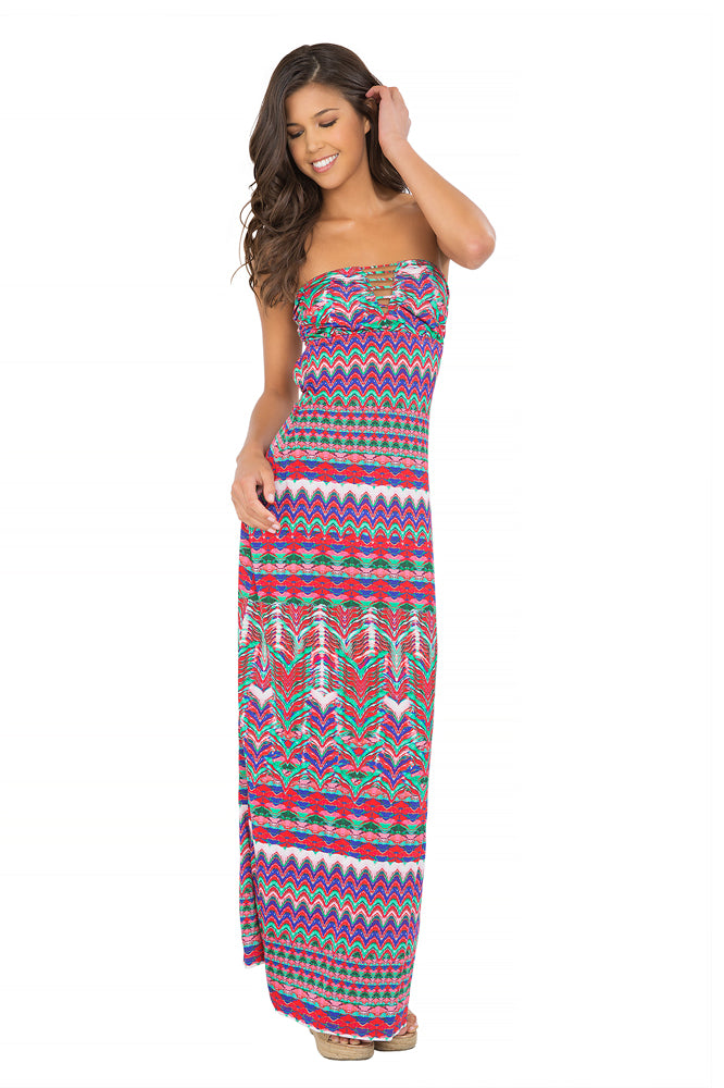 BESOS DE SAL - Strappy V Cut Out Maxi Dress • Multicolor (865218625580)