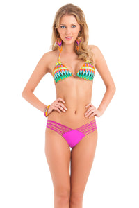 TULUM PARTY - Wavey Triangle Top & Strappy Brazilian Ruched Back Bottom • Dancing Orchid