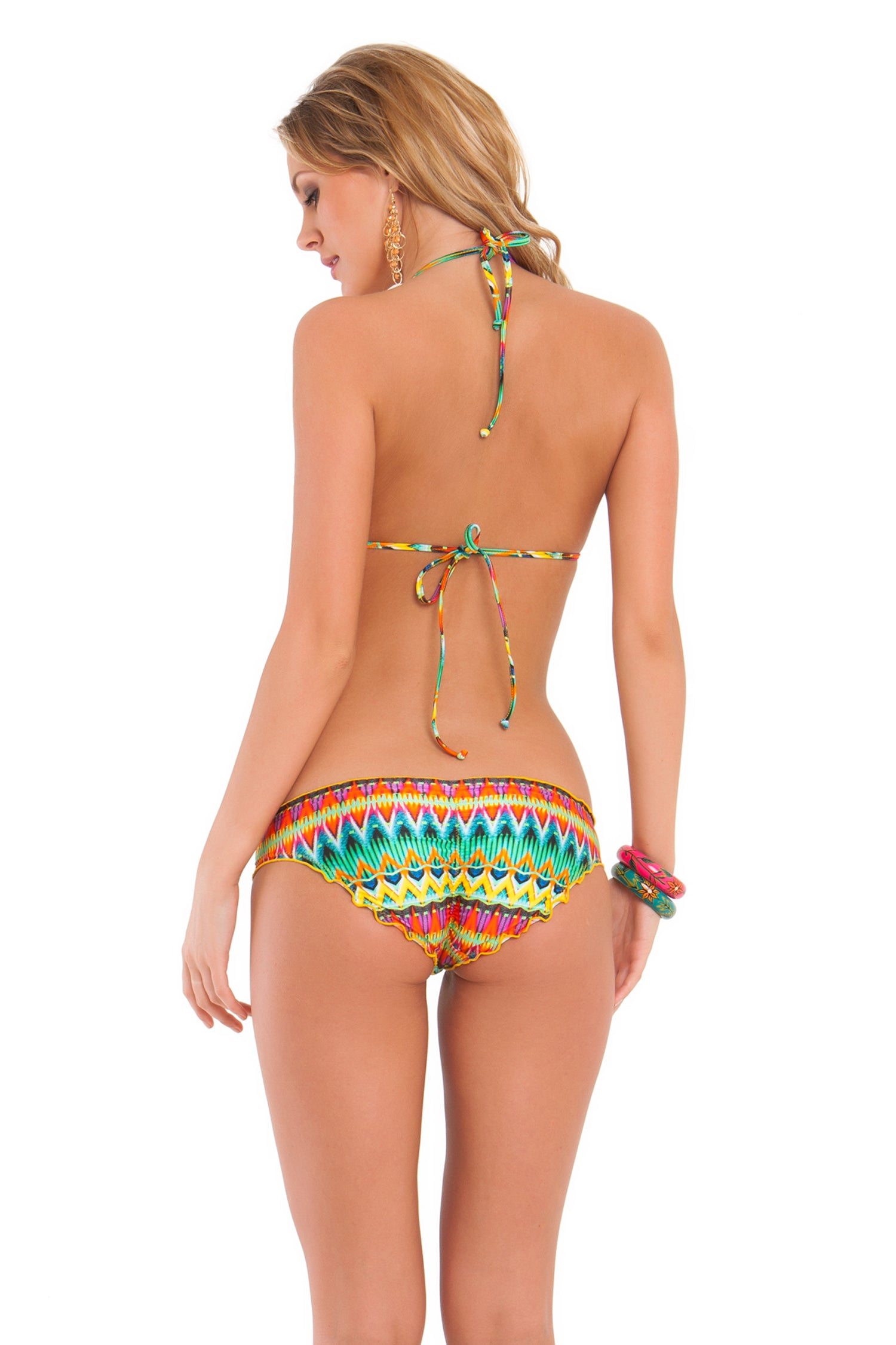 TULUM PARTY - Molded Push Up Bandeau Halter Top & Full Ruched Back Bottom • Multicolor