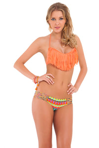 COSITA BUENA - Fringe Scoop Halter Top & Hot Buns Bottom • Beachy Coral