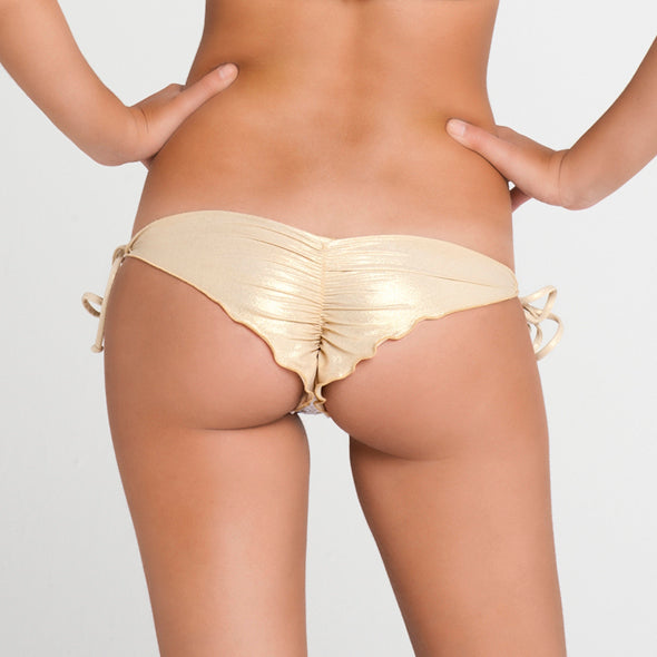 BURBUJAS DE AMOR - Wavey Ruched Back Brazilian Tie Side Bottom